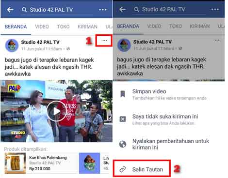 Cara Copy Link Video Di Facebook