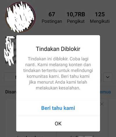 ciri ciri instagram diblokir sementara