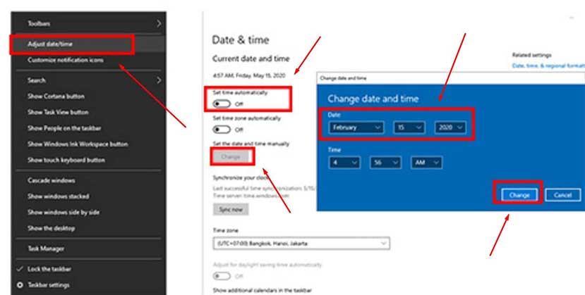 mengatasi corel draw x7 tidak bisa save dengan memundurkan tanggal pada pc/laptop