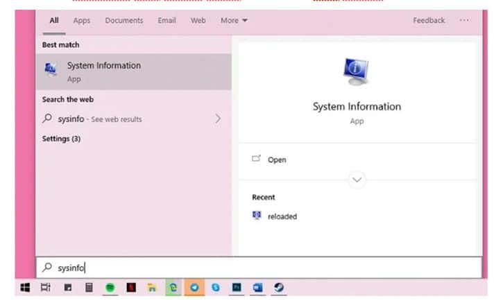 cara mengetahui versi windows 10 dengan System Information
