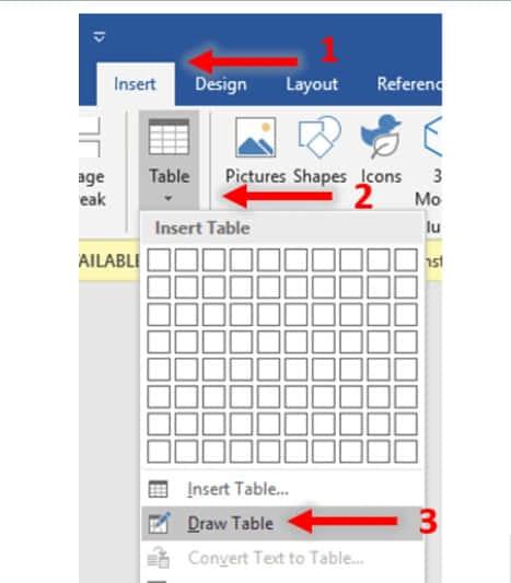 Dengan menggambar tabel (Draw Table)