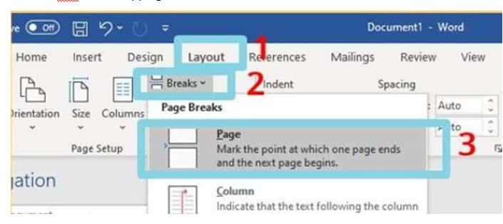 cara menambah halaman di word  dengan page break