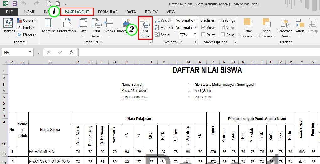 Cara Membuat Judul Tabel Berulang di Excel