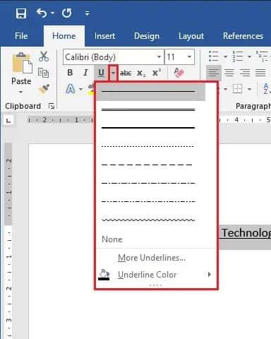 cara membuat garis bawah di word