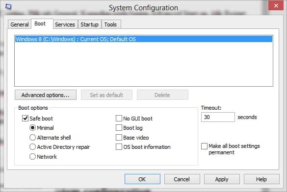 msconfig / systemconfiguration windows 8