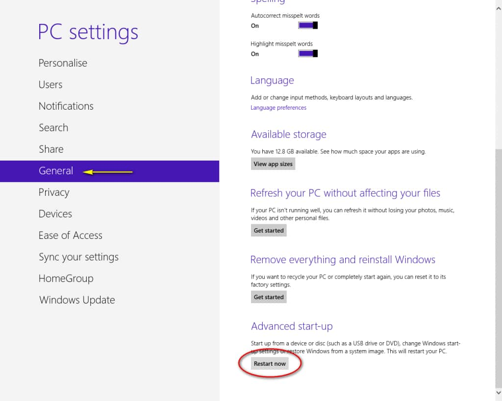 windows 8 pc setting