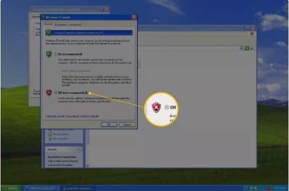 cara mematikan firewall windows xp